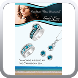 Full page featuring Sandra Biachi branded Caribbean Blue Diamonds.