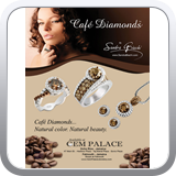 Full page ad for Gem Palace in Jamaica featuring Sandra Biachi branded Cafe Diamonds.