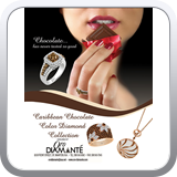 Full page ad featuring chocolate diamonds for Oro Diamante in St. Maarten.