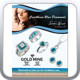 Full page ad for Goldmine in Jamaica featuring Sandra Biachi branded Caribbean Blue Diamonds.