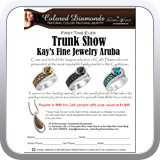 Trunk Show Flyer for Kay's fine jewelry in Aruba.